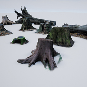Pack of 10 photo-scanned, realistic tree stump / trunk meshes.