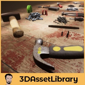 A photo-scanned tool set complete with 18 unique meshes covering simple tools, screws and washers for Unreal Engine 4.20+
