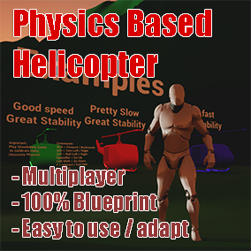 Physics Based Helicopter Starter Kit Template (Third Person) / Network Replicated / Easily customizable and adaptable