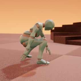 Smooth replicated ragdoll blend from physics to animation during standing up process.