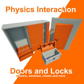 Quickly and easily create physics simulated interactive doors, locks, and other moving systems using your own meshes.