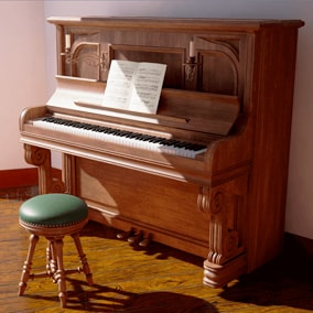 Set of four high quality models of pianos and four piano benches for them.