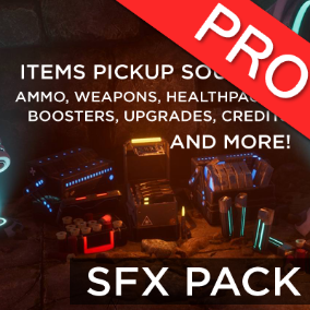 The pickup sound effects packs features 89 sounds for objects and items pickups: weapons, ammo, powerups, healthpacks, boosters, upgrades, credits, damage, invincibility, invisibility, fire rate and more! Guns reload + Perfect for modern / sci-fi FPS, TPS
