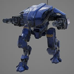 3D model of a mech with blueprint functions to pilot. Also contains animations and basic sound/particle effects