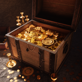 Treasure chest with golden coins and items