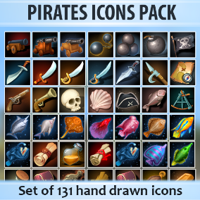 Set of 131 hand drawn Pirates icons.