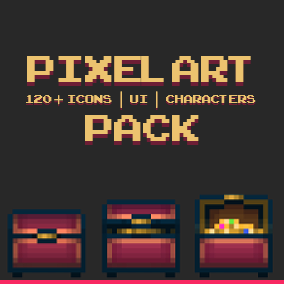 Pixel art pack including 120+ items, characters and UI.