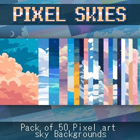 Pack of 50 Pixel Art Sky Backgrounds in 240x135px & Full HD resolution
