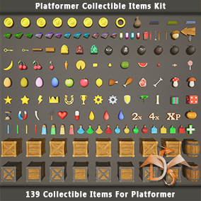 139 collectible items for the platformer, support for all platforms. Ready-made configuration and customization scheme. Extensible logic.