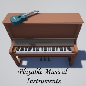 Bundle with playable musical instruments (piano and ukulele)