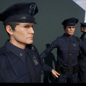 Police officer, inspired by classic US style cop.