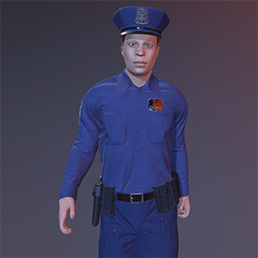Police officer, inspired by US style cop. Rigged to Epic skeleton.