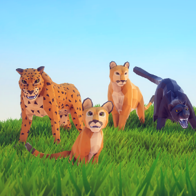 Beautiful Poly Art Cougars and Panthers for your Low Poly Environments