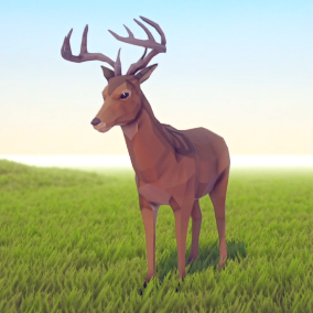 A beautiful Poly Art Deer for your Low Poly Environments