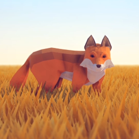 A beautiful Poly Art Fox for your Low Poly Environments