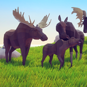 Beautiful Poly Art Moose for your Low Poly Environments