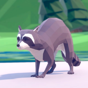 Beautiful Poly Art Raccoons for your Low Poly Environments