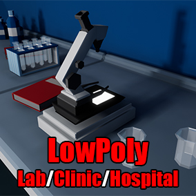 Clinic / Hospital / Laboratory low poly assets, customizable color palettes and highly optimized assets