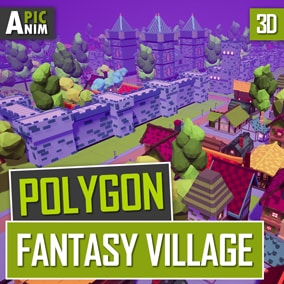 Insanely colorful polygon package of fantasy medieval buildings.