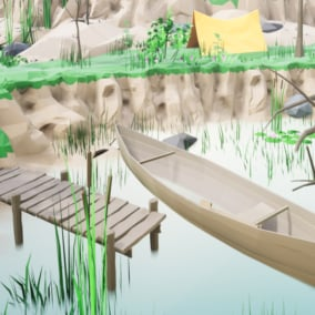 Low Poly Style pack for creating a fishing cove environment