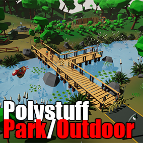 Park / Outdoor low poly assets, customizable color palettes and highly optimized assets