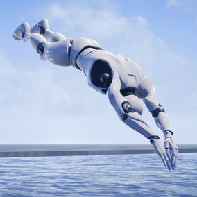 A set of 9 animations for diving and jumping into water.