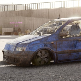 5 PostApo Abondoned Car Wrecks. Color customization possibile