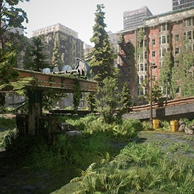 Complete environment pack for creating post apocalyptic cities. Over 500+ models, building blueprints, cars, 50+ blueprints that speeds up level creation, dynamic time of day system with rain options and example map with optimized lighting and landscape.