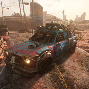 Post apocalyptic desert environment with a driveable vehicle and large library of props.