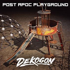 A collection of post apocalyptic playground equipment props used for game dev!