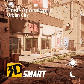 day and night urban design based on post-apocalyptic theme with interior and exterior