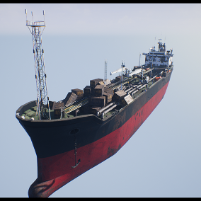 Rusted and worn post-apocalyptic oil tanker ship.