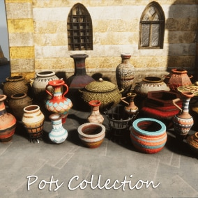 Collection of 30 game-ready decorative pots, vases and crocks, with unique designs. Including Albedo, Normal and Metallic maps in 4K resolutions.
