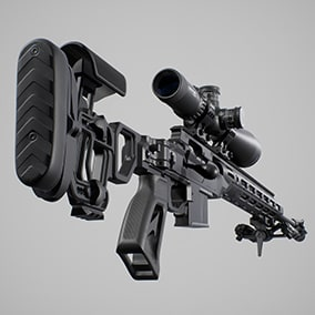 AAA quality sniper rifle with 4K PBR textures, 3 LODs, VFX, SFX, FPS animated arms and environment props.