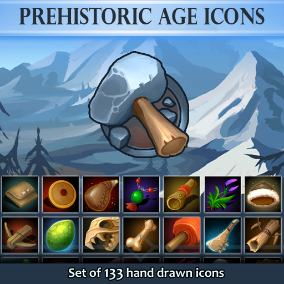Set of 133 hand drawn Prehistoric Age Icons.