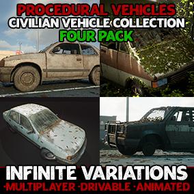 Generate infinite interactable Hatchback, Pickup Truck, Sedan & Van variations with flexible, procedurally generated blueprint actors!
