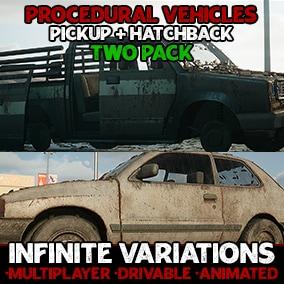 Generate infinite interactable Hatchback & Pickup Truck variations with flexible, procedurally generated blueprint actors!