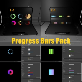 Progress Bars Pack allows developers to create and customize their own style of progress bars and widgets with two advanced master materials.