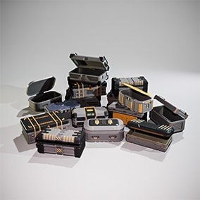10 Ammo Boxes Props. 4k Textures. Customizable materials.