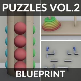 The pack contains 3 unique puzzles ready to be added to the game. Simple to embed in your game. The control is configured for a keyboard with a mouse and for a gamepad.