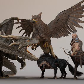 This pack gathers 4 fantasy creatures ready to populate your project.