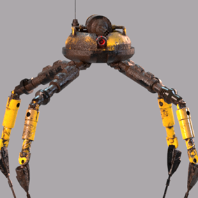 A rigged and animated quadruped robot.