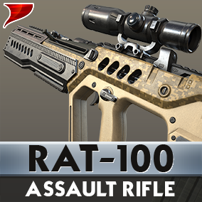 RAT-100 Assault Rifle includes all kinds of unique 4K Textures VFX/SFX and Aniamtions.