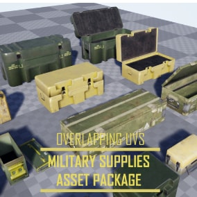 A collection of military supply crates, and ammo cases.