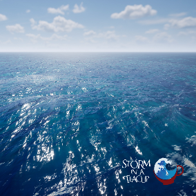 This is an implementation of a realistic and highly customizable ocean simulation. This simulation can transition from calm to stormy ocean conditions very easily and each keyframe can be customized individually.