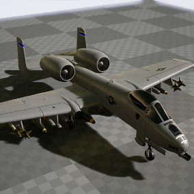 A rigged and animated jet plane with missiles and materials.