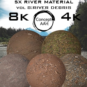 5 AAA Quality River Materials for all platforms. All Textures have their own 8K,4K,2K and 1K version and ready for every kind of project.