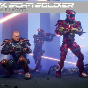 Sci-Fi Soldier with AnimBP, BlendSpace and Playable Character included.