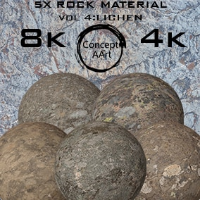 5 AAA Quality Rock Materials for all platforms. All Textures have their own 8K,4K,2K and 1K version and ready for every kind of project.
