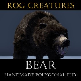 Aggressive and terrifying huge bear with handmade polygonal fur
